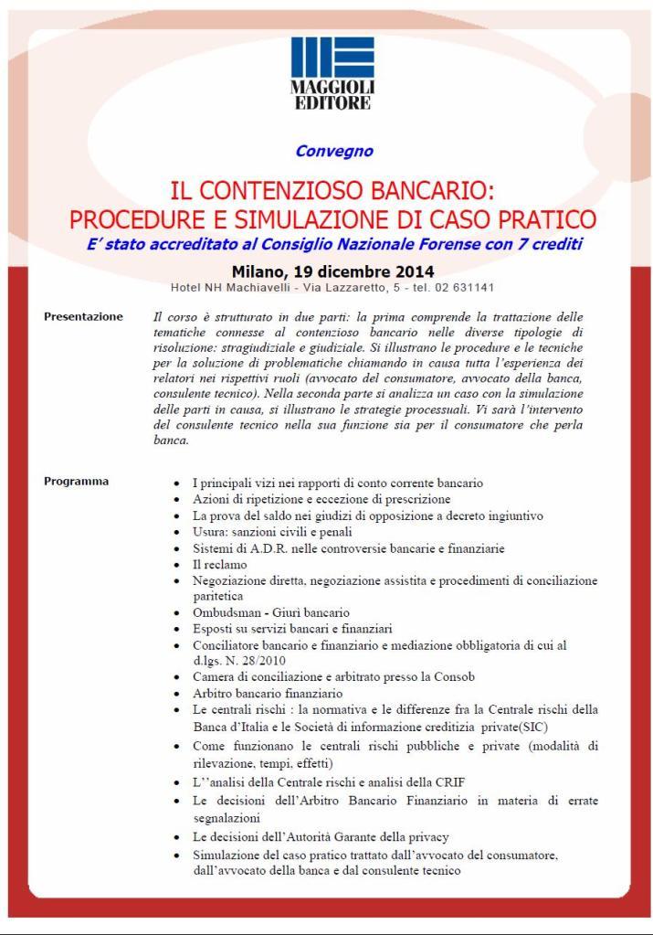 Locandina convegno Milano 19 Dicembre 14