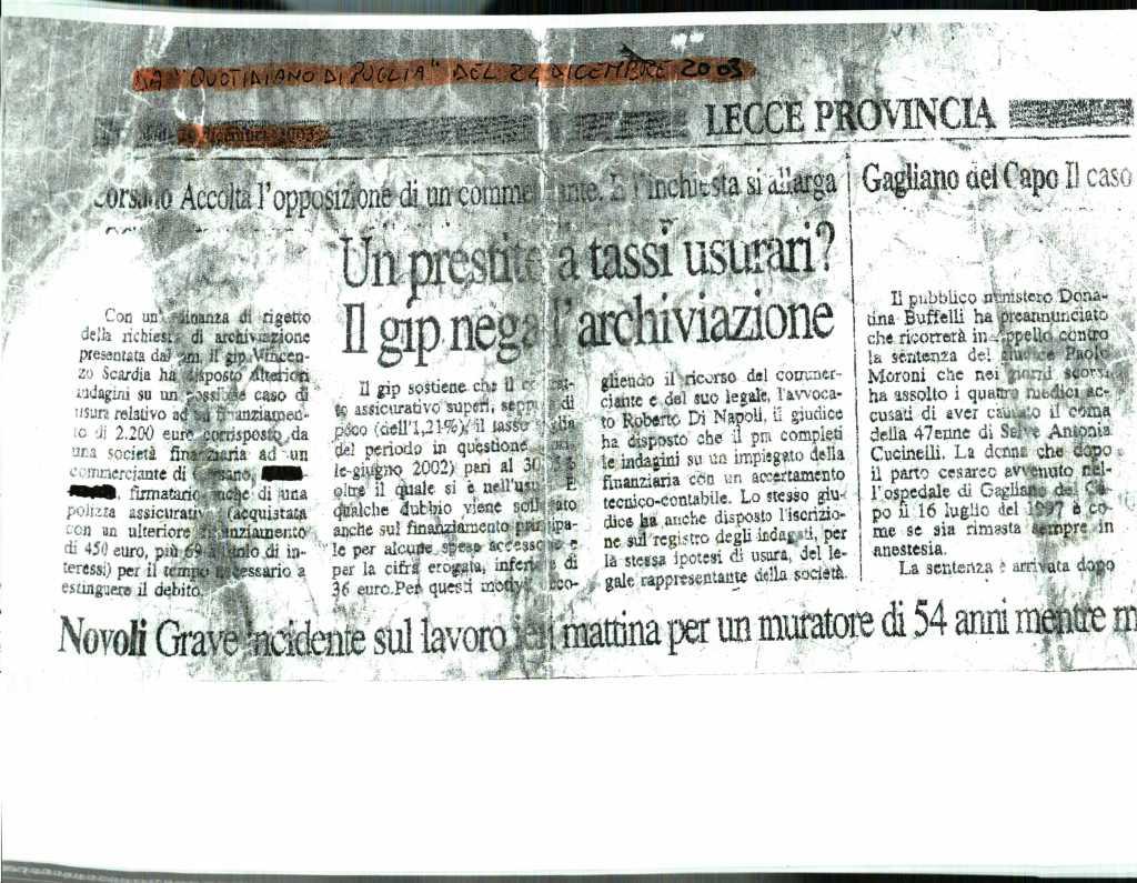 Quotidiano Puglia 24 Dicembre 2003
