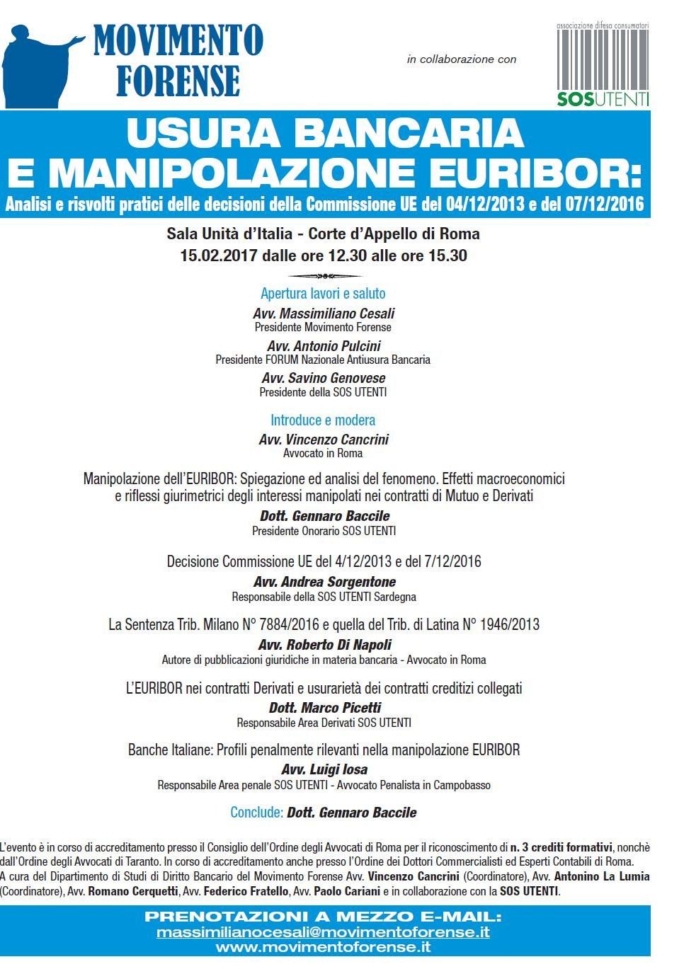 locandina convegno 15 febbraio 2017 manipolazione tasso euribor