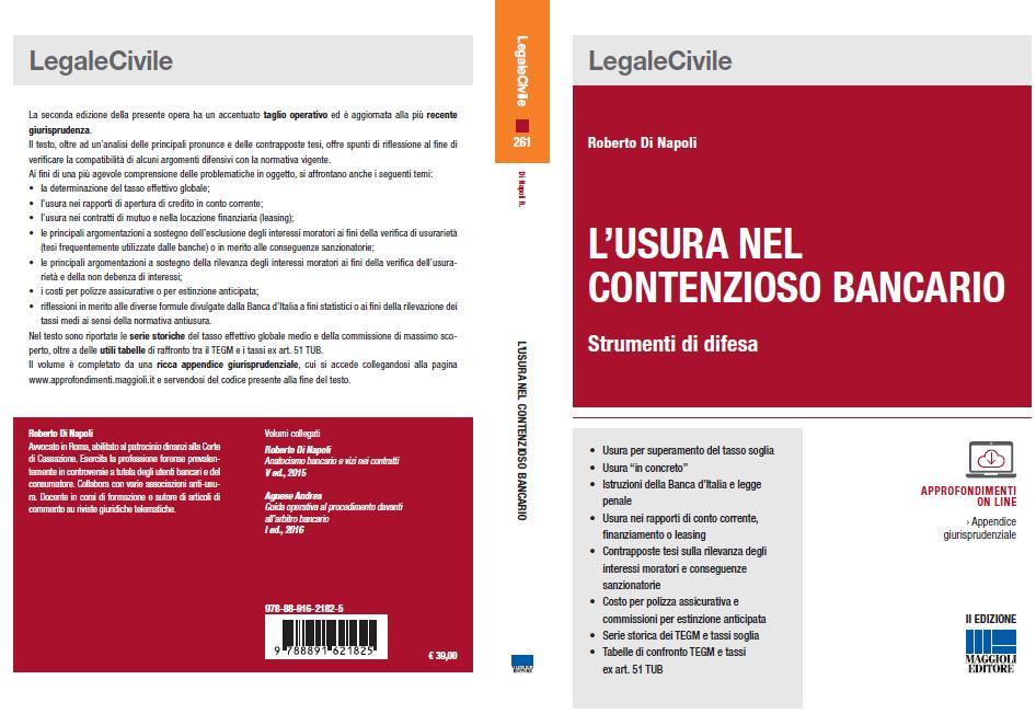 copertina II edizione L'usura nel contenzioso bancario