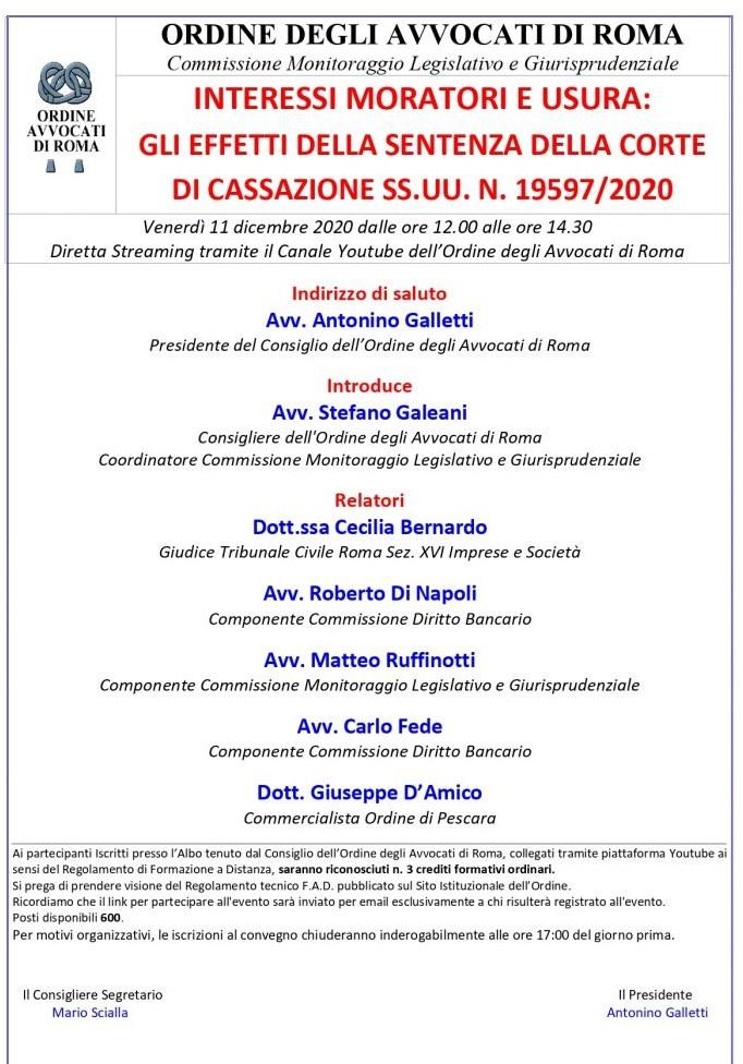 locandina seminario 11 dicembre 2020 Consiglio dell'Ordine Avvocati Roma